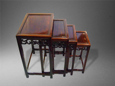 A Nest Of 4 Early 20th Century Chinese Rosewood Stacking Tables With Carved  Frieze Decoration GATEWAY ANTIQUES   WITH STOCK OF BOOKCASES BOXES U0026 TREEN  ...