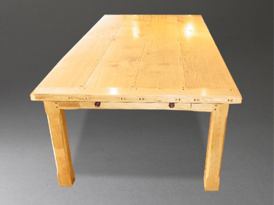 A New Table To Our Range In Natural Light Oak With Dark Cherry Inlaid Pegs  To The Top And Sides And Splices To The Raised Tenons In The Cleats Each  End ...